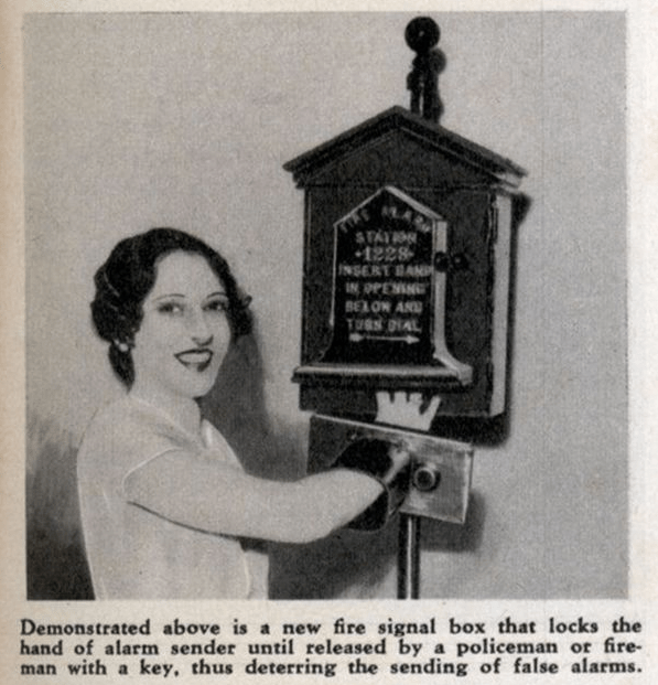 Vintage advertisement - STAT 1228 NSERT BAN IN OPENIN BEXOW AN TueS AL Demonstrated above is a new fire signal box that locks the hand of alarm sender until released by a policeman or fire- man with a key, thus deterring the sending of false alarms.