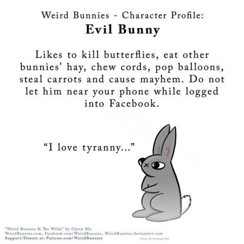 "Text - Weird Bunnies Character Profile: Evil Bunny Likes to ki butterflies, eat other bunnies' hay, chew cords, pop balloons, steal carrots and cause m ayhem. Do not let him near your phone while logged into Facebook ""I love tyranny..."" Weird Bunnies & The Wilds"" by Glynn Mo WeirdBunnies.com, Facebook.com/WeirdBunnies, WeirdBunnies.deviantart.com Support/Donate at: Patreon.com/WeirdBunnies d e"