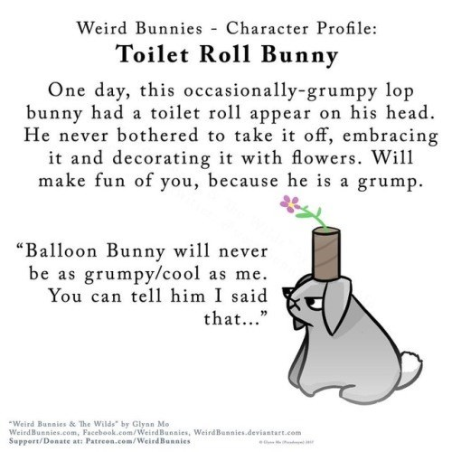 "Text - Weird Bunnies Character Profile Toilet Roll Bunny One day, this occasionally-grumpy lop bunny had a toilet roll appear on his head He never bothered to take it off, embracing it and decorating it with flowers. Will make fun of you, because he is a grump. ""Balloon Bunny will never be as grumpy/cool as me You can tell him I said that..."" Weird Bunnies & The Wilds"" by Glynn Mo WeirdBunnies.com, Facebook.com/WeirdBunnies, WeirdBunnies.deviantart.com Support/Donate at: Patreon.com/WeirdBunnies"
