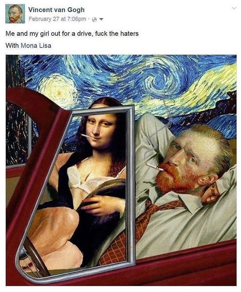 Funny meme about van gogh and mona lisa.