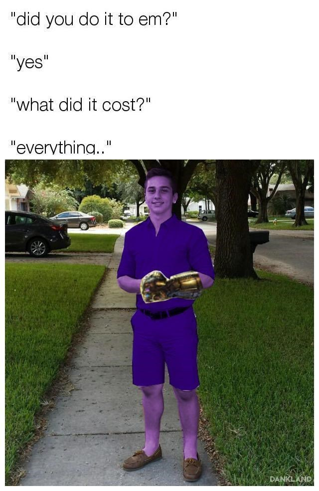 """Photo caption - """"did you do it to em?"""" """"yes"""" """"what did it cost?"""" """"evervthina.."""" II DANKLAND"""