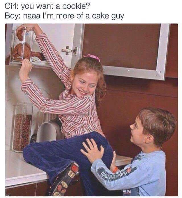 meme of kids stealing cookies and he says he is more of a cake guy
