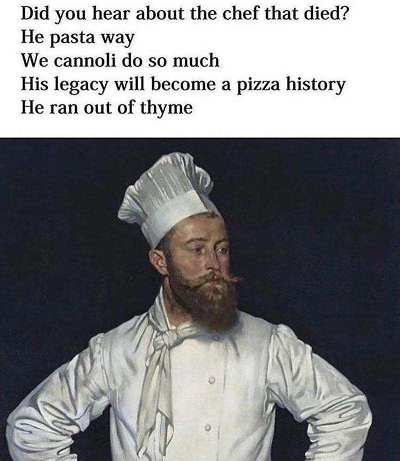 Funny meme about pasta, pasta puns, italian memes.