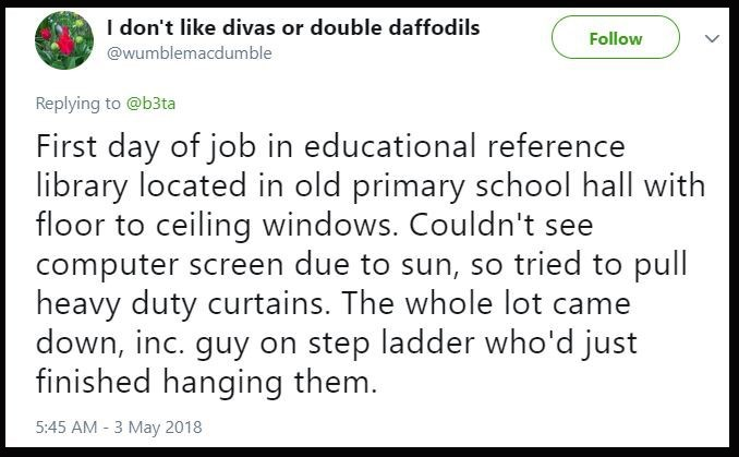 Tweet about someone accidentally pulling down heavy curtains down including the guy who hung them