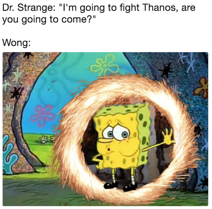 """Cartoon - Dr. Strange: """"I'm going to fight Thanos, are you going to come?"""" Wong: cik5"""
