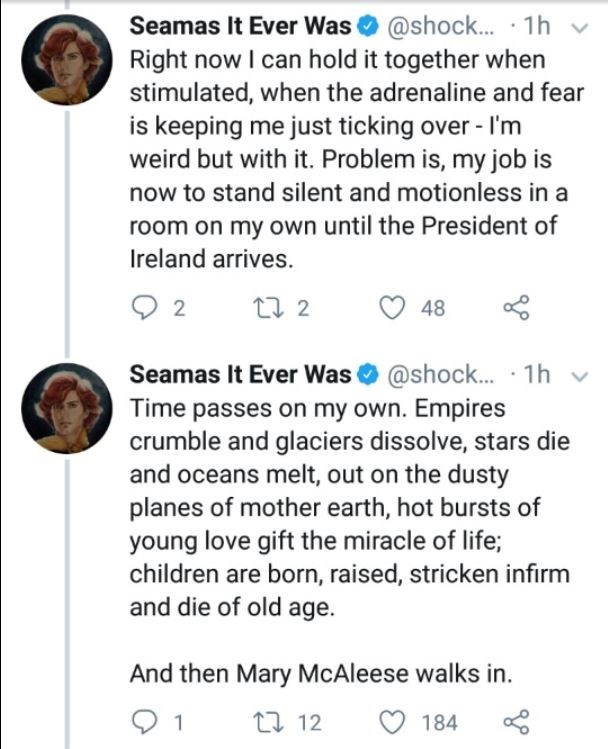 Text - Seamas It Ever Was@shock.. 1h Right now I can hold it together when stimulated, when the adrenaline and fear is keeping me just ticking over-I'm weird but with it. Problem is, my job is now to stand silent and motionless in a room on my own until the President of Ireland arrives. t2 48 Seamas It Ever Was @shock... 1h Time passes on my own. Empires crumble and glaciers dissolve, stars die and oceans melt, out on the dusty planes of mother earth, hot bursts young love gift the miracle of li