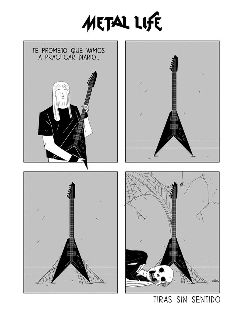 cuando quieres empezar a tocar la guitarra pero te chingas la rodilla