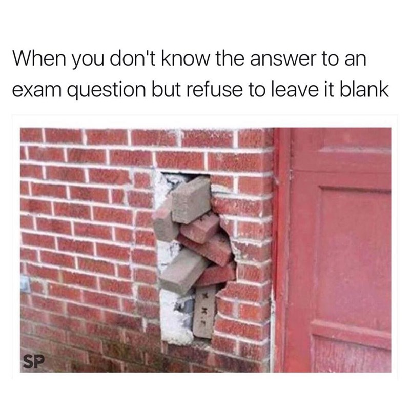 Wall - When you don't know the answer to an exam question but refuse to leave it blank SP