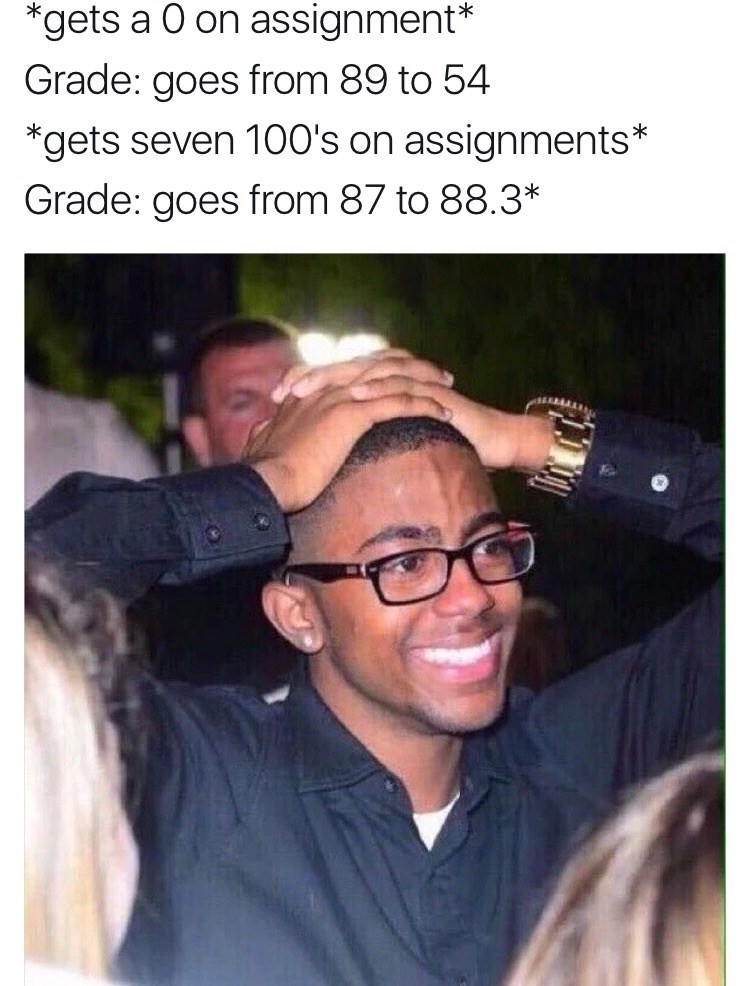 Glasses - *gets a 0 on assignment* Grade: goes from 89 to 54 *gets seven 100's on assignments* Grade: goes from 87 to 88.3*