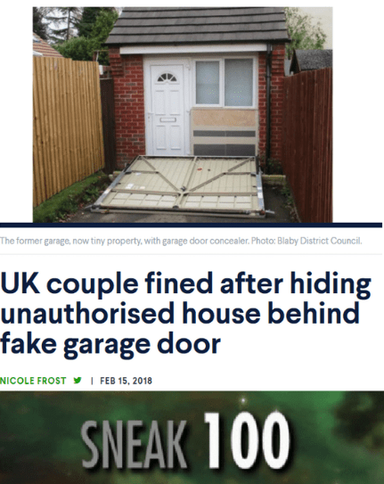 Property - The former garage, now tiny property, with garage door concealer. Photo: Blaby District Council UK couple fined after hiding unauthorised house behind fake garage door I FEB 15, 2018 NICOLE FROST SNEAK 100