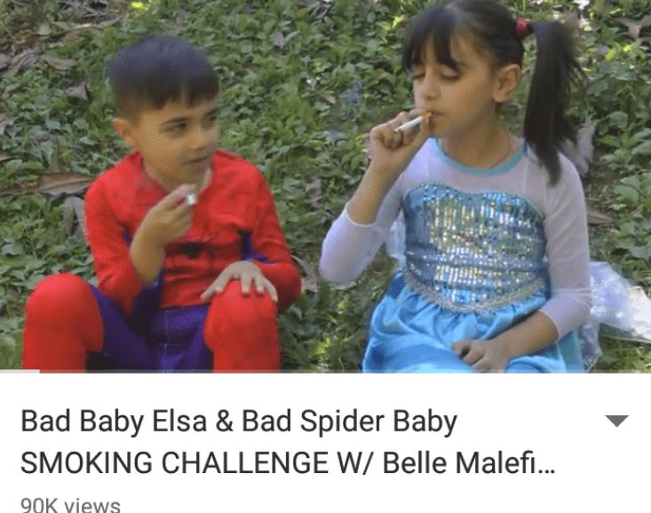 Child - Bad Baby Elsa & Bad Spider Baby SMOKING CHALLENGE W/ Belle Malefi... 90K Yiews