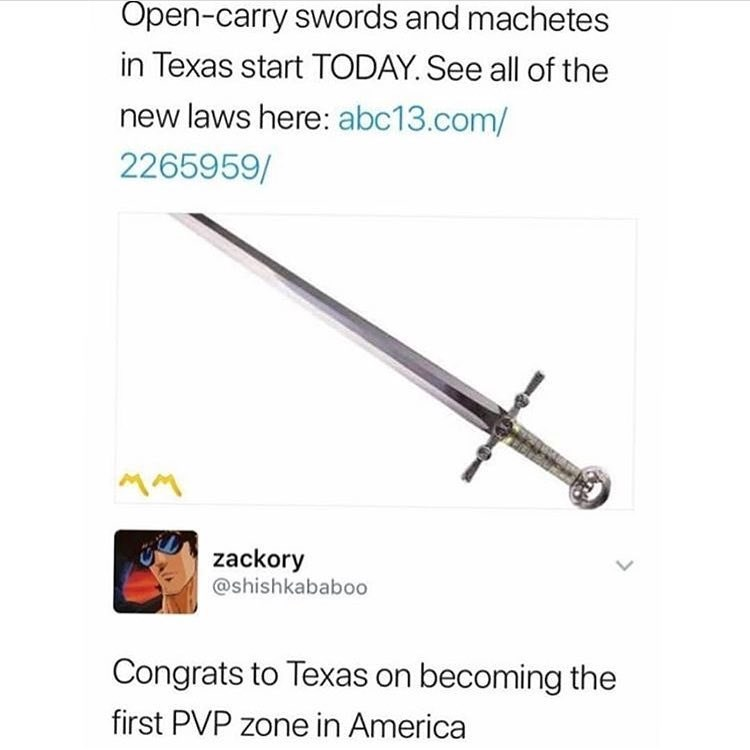 Funny meme about Texas swords and machetes.