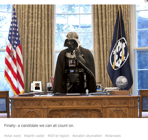 Photo of Darth Vader in the Oval Office