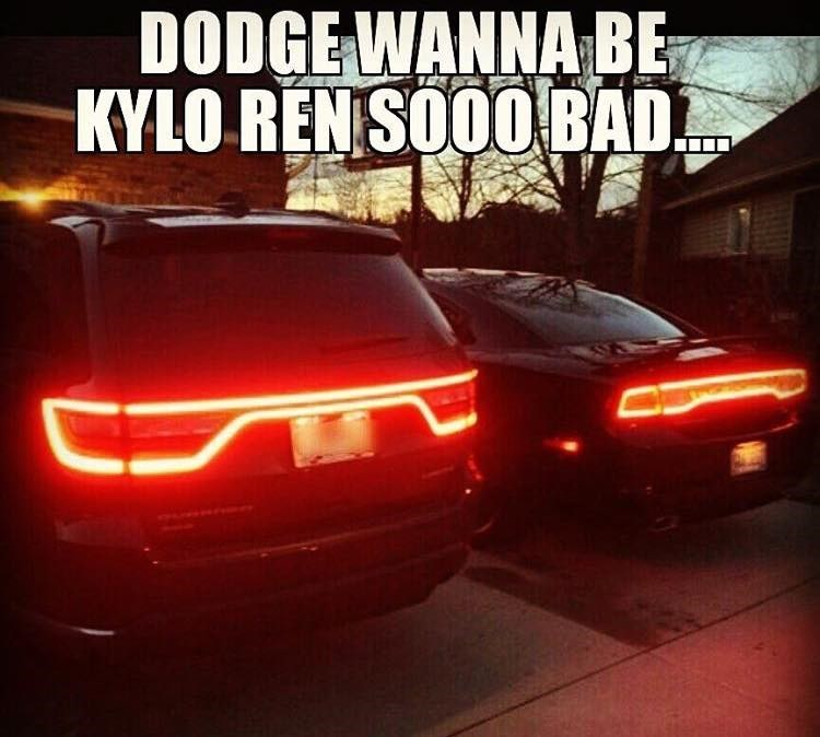 Dodge with lights that look like Kylo Ren's mask