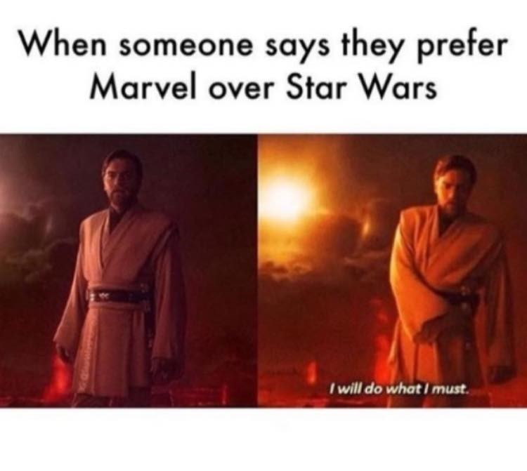 Text - When someone says they prefer Marvel over Star Wars I will do what must