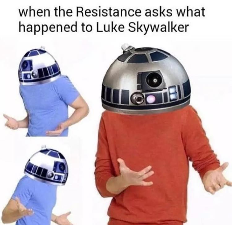 R2-d2 - when the Resistance asks what happened to Luke Skywalker