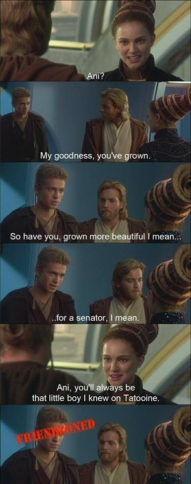 Facial expression - Ani? My goodness, you've grown. So have you, grown more beautiful I mean.. .for a senator, I mean. Ani, you'll always be that little boy I knew on Tatooine. FRIENDONED