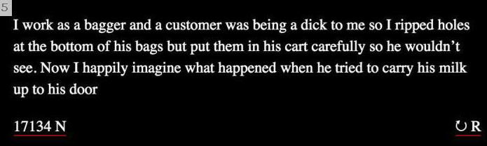 Text - I work as a bagger and a customer was being a dick to me so I ripped holes at the bottom of his bags but put them in his cart carefully so he wouldn't see. Now I happily imagine what happened when he tried to carry his milk up to his door 17134 N UR