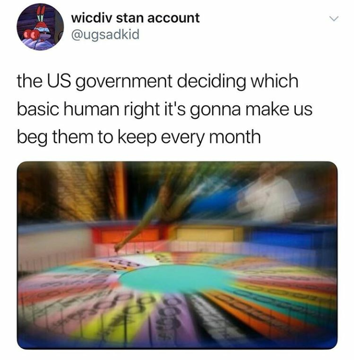 Text - wicdiv stan account @ugsadkid the US government deciding which basic human right it's gonna make us beg them to keep every month Co