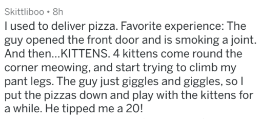 Text - Skittliboo 8h I used to deliver pizza. Favorite experience: The guy opened the front door and is smoking a joint. And then...KITTENS. 4 kittens come round the corner meowing, and start trying to climb my pant legs. The guy just giggles and giggles, so l put the pizzas down and play with the kittens for a while. He tipped me a 20!