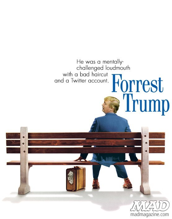 Meme of a Forrest Gump movie poster made into a Forrest Trump poster with Donald's face photoshopped over Gump's