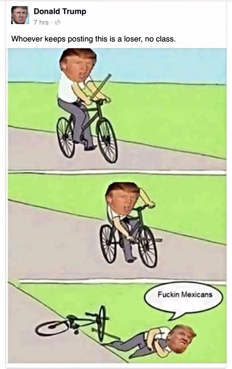 Bicycle meme of trump blaming everything on the Mexicans