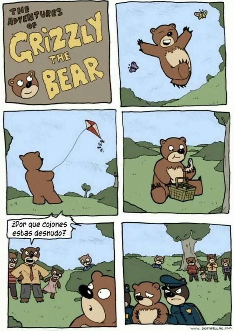cuando el oso sale desnudo por el bosque
