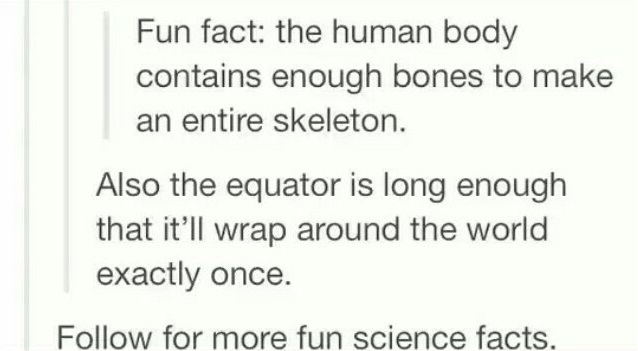 Text - Fun fact: the human body contains enough bones to make an entire skeleton. Also the equator is long enough that it'll wrap around the world exactly once. Follow for more fun science facts.