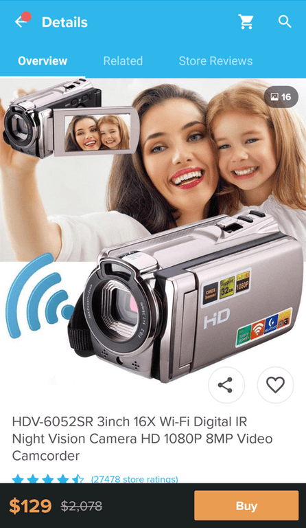 Camera - Details Overview Related Store Reviews P 16 Se32 0P HD HDV-6052SR 3inch 16X Wi-Fi Digital IR Night Vision Camera HD 1080P 8MP Video Camcorder (27478 store ratings) $129 $2,078 Buy wwa