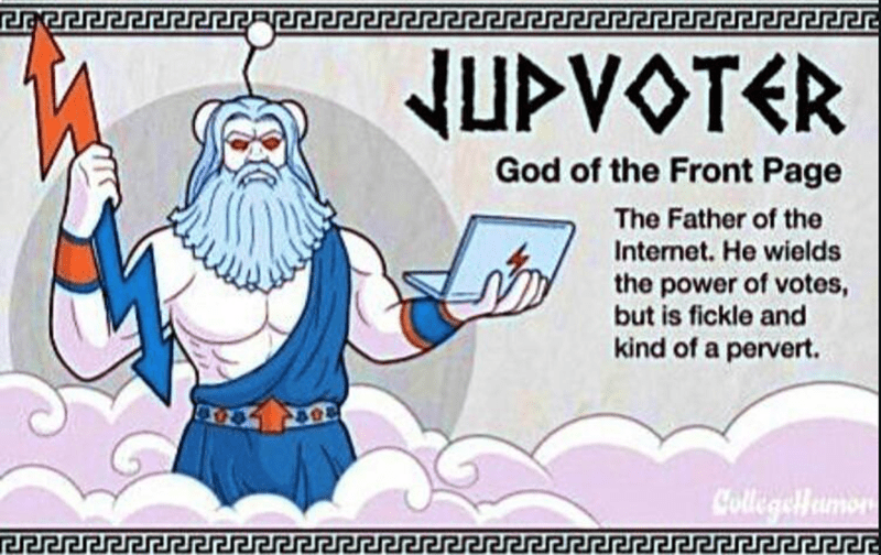 Cartoon - NUPVOTER God of the Front Page The Father of the Internet. He wields the power of votes, but is fickle and kind of a pervert. Collegoumon