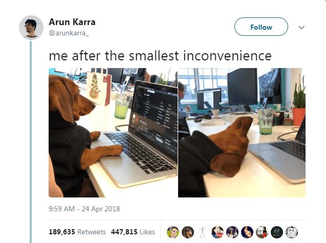 Product - Arun Karra Follow @arunkarra me after the smallest inconvenience 9:59 AM - 24 Apr 2018 189,635 Retweets 447,815 Likes וונהll,/ ill
