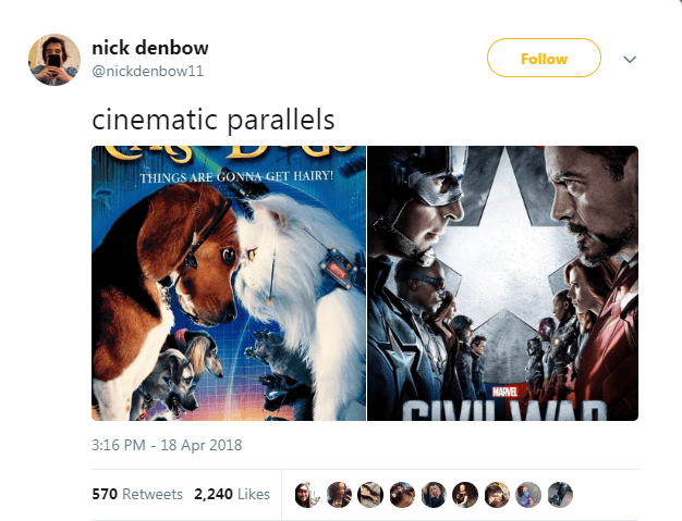 Text - nick denbow Follow @nickdenbow11 cinematic parallels THINGS ARE GONNA GET HAIRY! MARVEL 3:16 PM - 18 Apr 2018 570 Retweets 2,240 Likes