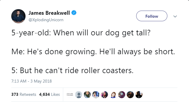 Text - James Breakwell Follow @XplodingUnicorn 5-year-old: When will our dog get tall? Me: He's done growing. He'll always be short. 5: But he can't ride roller coasters. 7:13 AM -3 May 2018 373 Retweets 4,634 Likes
