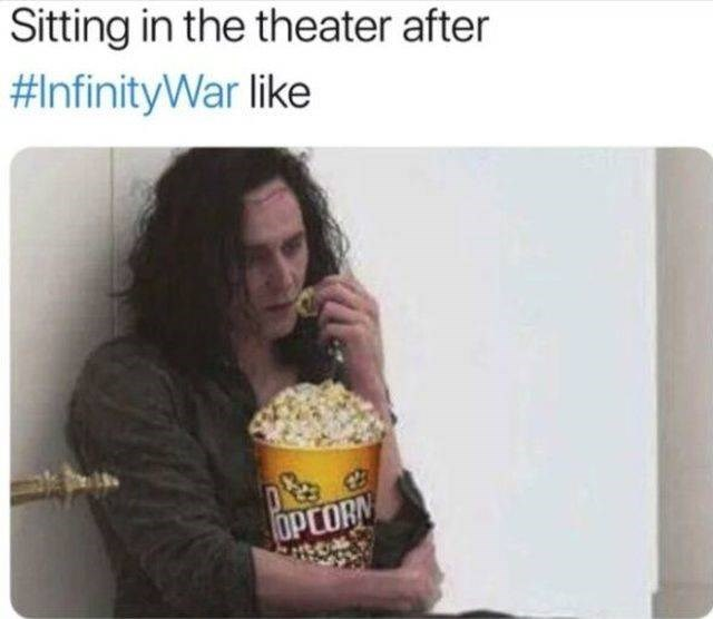 Food - Sitting in the theater after #InfinityWar like OPCORN