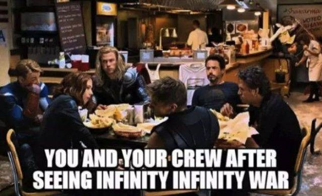Restaurant - Shaksua YOU AND YOUR CREW AFTER SEEING INFINITY INFINITY WAR