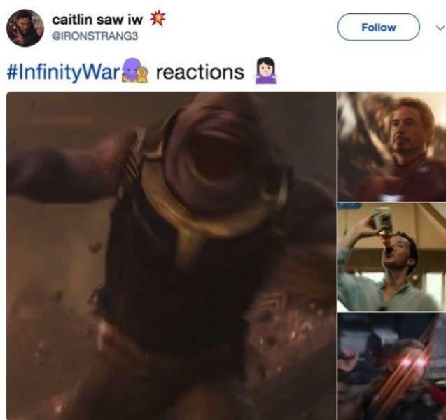 Text - caitlin saw iw Follow @IRONSTRANG3 #InfinityWar reactions