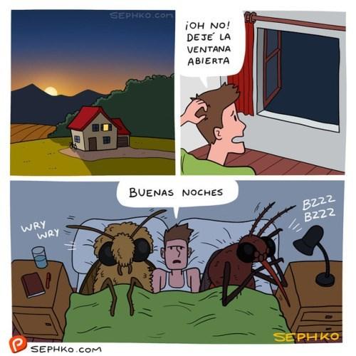 cuando dejas la ventana abierta y se entran los bichos