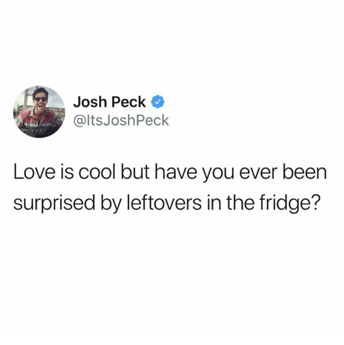 """Love is cool but have you ever been surprised by leftovers in the fridge?"""