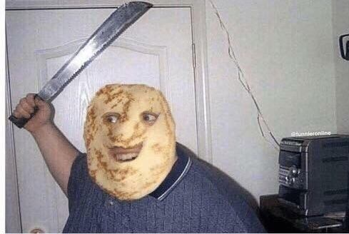 cursed images - man swinging a knife and wearing a potato face