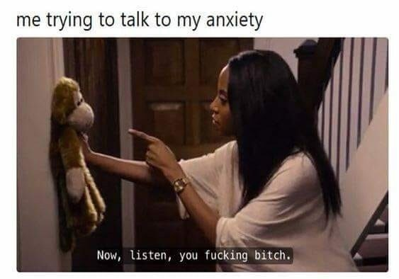 Photo caption - me trying to talk to my anxiety Now, listen, you fucking bitch