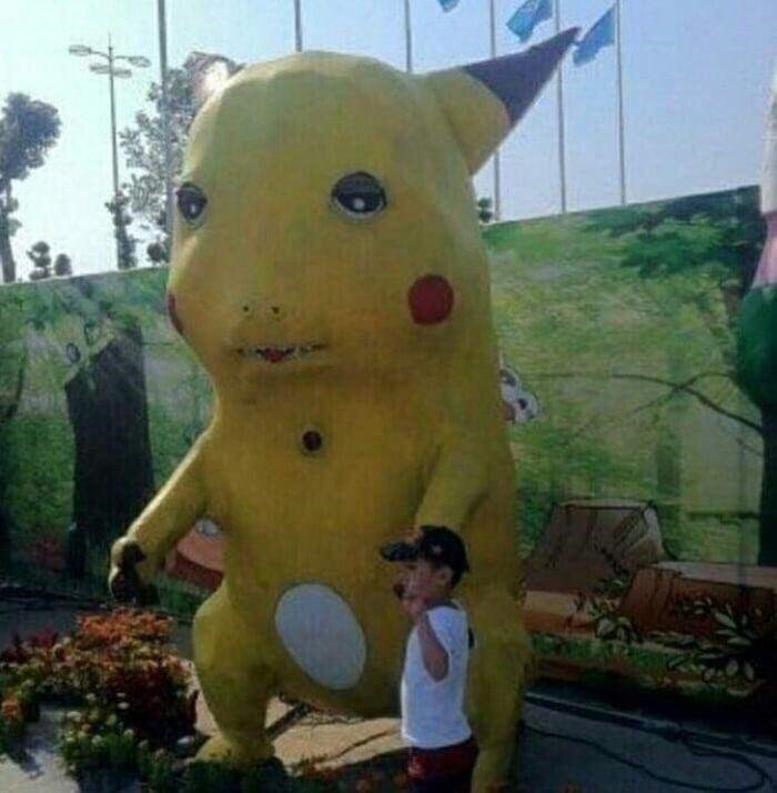cursed images - Yellow pikachu statue