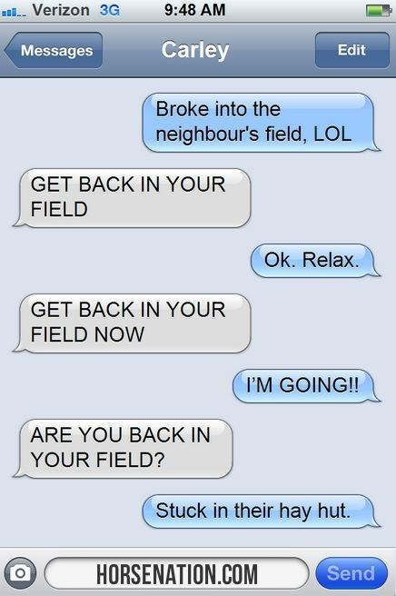 horse chat - Text - Verizon 3G 9:48 AM Carley Messages Edit Broke into the neighbour's field, LOL GET BACK IN YOUR FIELD Ok. Relax. GET BACK IN YOUR FIELD NOW I'M GOING!!! ARE YOU BACK IN YOUR FIELD? Stuck in their hay hut. Send HORSENATION.COM