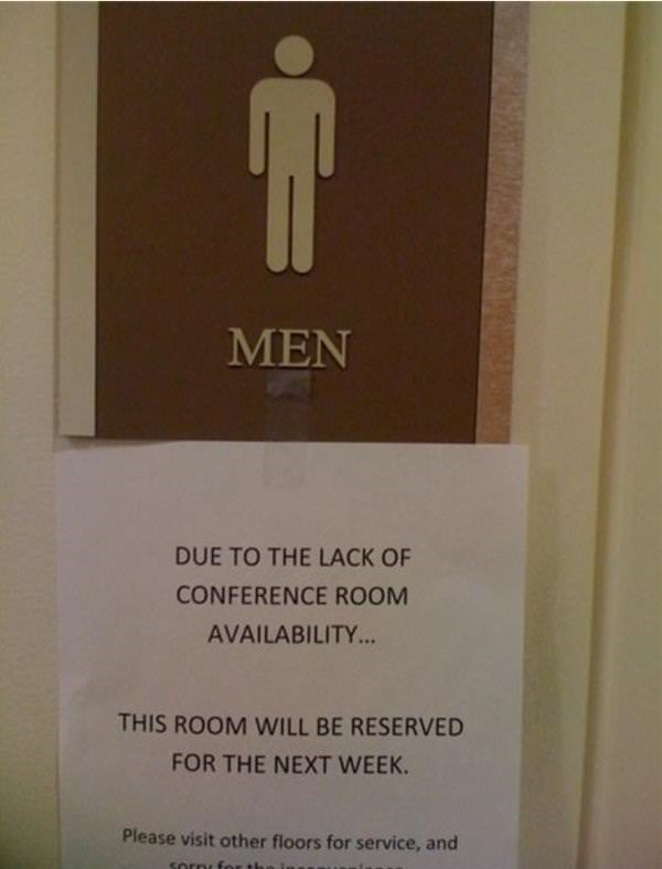work memes - men's bathroom that is being used as a conference room