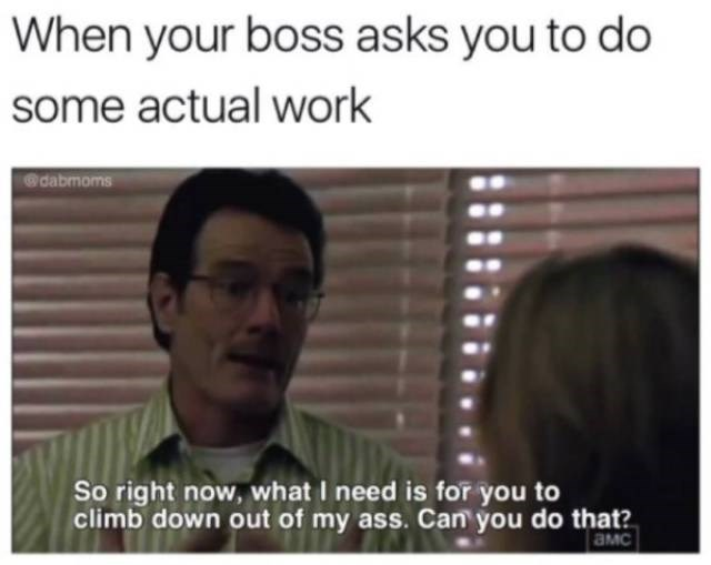 work meme about not wanting to do work when your boss asks you to
