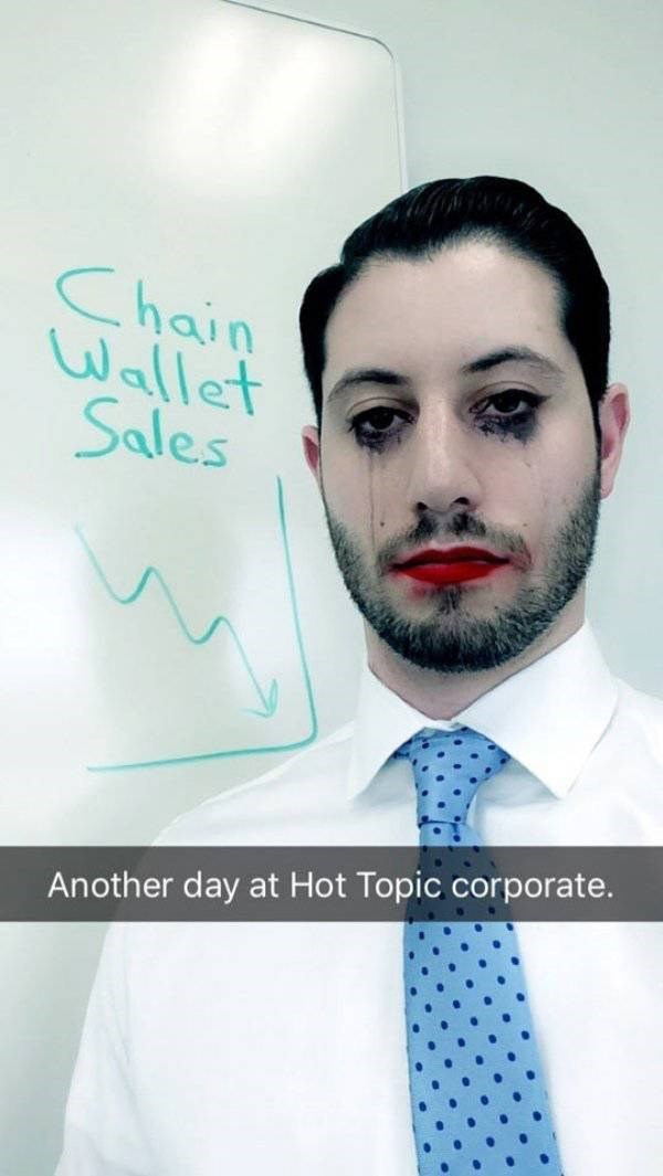 work meme snapchat filter of dark makeup on a man with a suit and him being part of hot topic's corporate