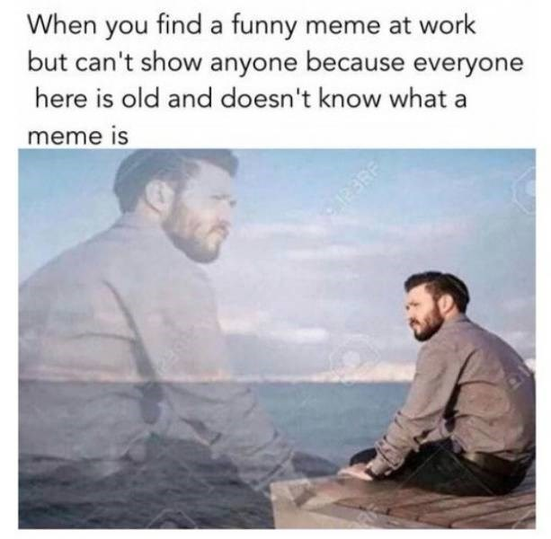 work meme about not being able to show memes to your coworkers because they don't understand what a meme is