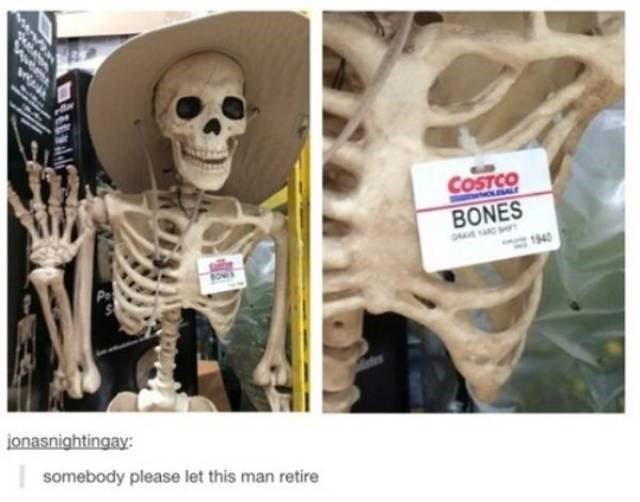 work skeleton meme with a costco name tag attached to it