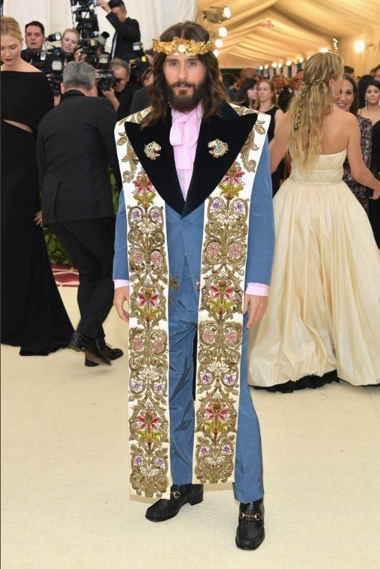 Jared Leto dressed as Jesus