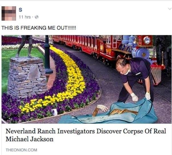 Plant - 11 hrs THIS IS FREAKING ME OUT!!!! Neverland Ranch Investigators Discover Corpse Of Real Michael Jackson THEONION.COM