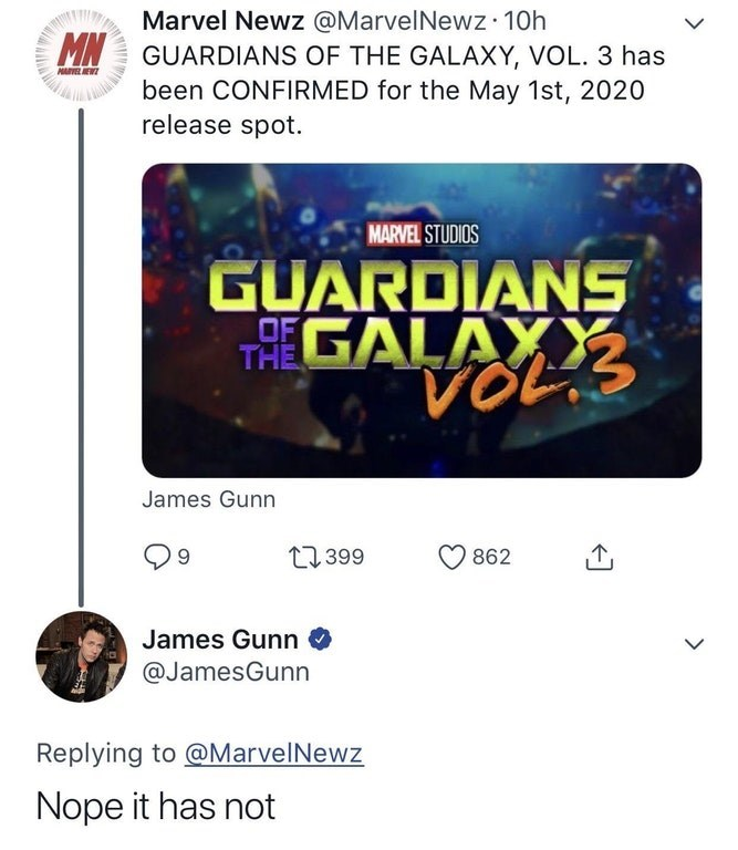 James Gunn shutting down a Twitter rumor that Guardians of the Galaxy 3 has been confirmed